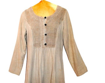 Peasant vintage 90s pastel grey , textured cotton dress. Made by Cotton USA. Size S-M.