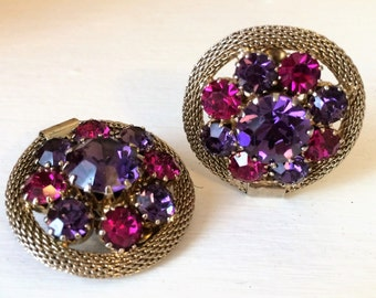 Vintage Signed Weiss Purple and Pink Clip On Rhinestone Earrings with Silver Mesh Trim They are a Little Over an Inch in Diameter. (J51)