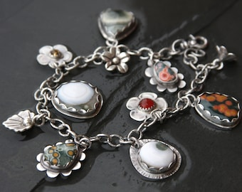 RESERVED for Michelle oOo ocean jasper, carnelian, citrine and sterling silver charm bracelet