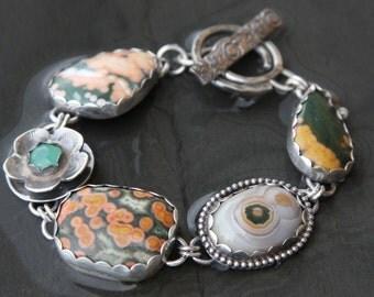 ocean jasper, chrysoprase and sterling silver metalwork link bracelet