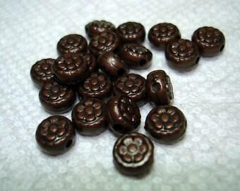 Dark Bronze Metal Looking Flower Plastic Beads (Qty 21) - B3176
