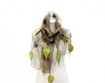 Felted scarf, scarf, felt, wrap, silk, wool, green, taupe, navy, women, gift, accesories, art, leaves