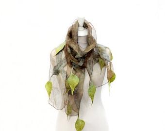 Felted scarf, Merino scarf, Nuno Felted Shawl, Felt silk scarf, Silk wrap, Womens silk scarf, Hand painted scarf, Felted scarf with leaves