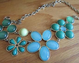 Blue green flower bib  necklace