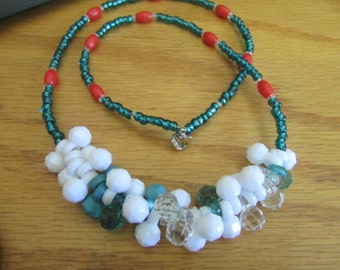 teal red bobble necklace