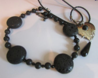 Lava stone necklace plus heart