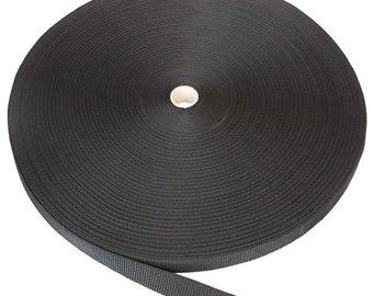 "Nylon Webbing | Thin Nylon Webbing 1"" wide Black | 5 yards"