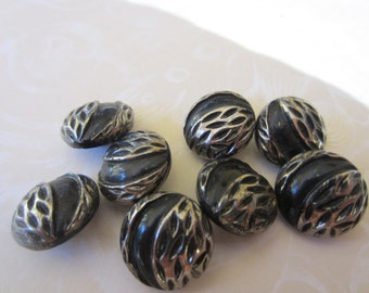 Vintage Buttons -  beautiful lot of 8 matching silver luster jet black glass, pressed design,  (nov 49 b)