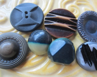 Vintage Buttons - Lot of 7 assorted celluloid, novelty, 1940's  ( june84c)