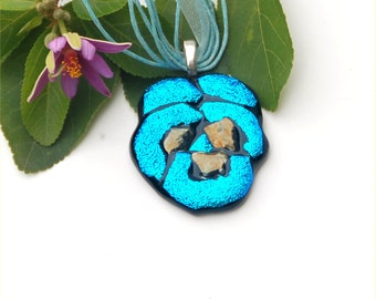 Fused dichroic glass pendant, light blue pansy