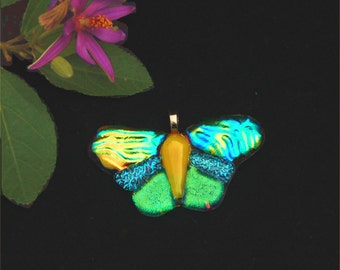 Butterfly pendant, fused dichroic glass, transparent, yellow, green, blue