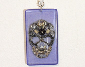 Blue Reclaimed Sugar Skull Acrylic Sun Catcher Day of The Dead Stained Glass Decoration Pendant Hangy Thing Object De Art D1