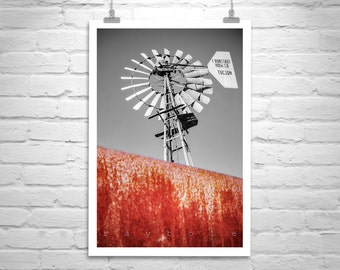 Windmill Art, Farm Windmill Photo, Rustic Print, Countryside, Rural America, Farm Country, Wall Art, Ronstadt Windmill, Vertical Art