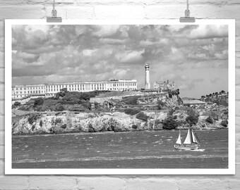 Alcatraz Picture, San Francisco Bay, Black and White, Nautical Photograph, Sailboats, California Art, MurrayBolesta, Fine Art Print