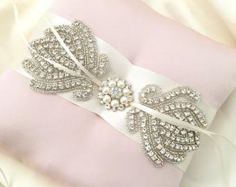 Bejeweled Blush Ring Bearer Pillow - Satin Rhinestone Wedding Ring Bearer Pillow - Ready To Ship
