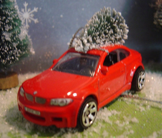 BMW M1 Red Car With Christmas Tree Ornament