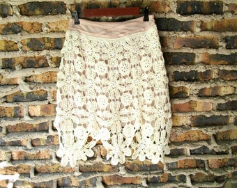 Small Shabby Chic Crochet Floral Upcycled Skirt// Summer// emmevielle