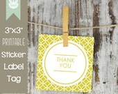 Printable Thank You Labels, Thank You Tags, Thank You Stickers - 3 Inch Square - INSTANT DOWNLOAD - Gift Tags, Product Stickers