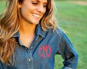 Monogrammed Denim Shirt - Ladies Denim Button Down Shirt, Gift for Her, Christmas Gift, Personalized Denim Shirt