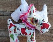 Plush Upcycled  Christmas Scotty Dog Tilly