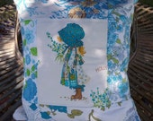 Upcycled Blue Holly Hobbie Cushion Cover