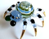 Green Blue Black Spider Gold Trim Hand-Blown Glass Animal Figurine Statue Collectible Gifts