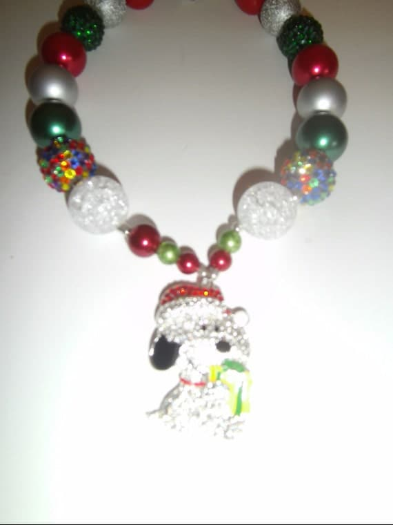 "Handmade Snoopy Girls Bubblegom Necklace, Children's Jewlery, Rhinestone, Bight Chunky Beads,Bubblegum Beads, Toddler, Girls, 17"" Necklace"