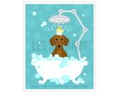 211D Dog Print - Smooth Red Hair Dachshund Dog in Bubble Bath Wall Art - Doxie Wall Art - Dachshund Print - Puppy Print - Wiener Dog Art