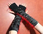 upcycle black sateen handwarmer,red fuzz decoration,silver studs,black handwarmers