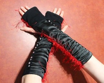 upcycled black armwarmers,black armwarmers,red fur,silver studs,black party gloves,black gloves,teen,women,party armwarmers,armwarmers