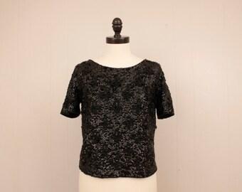 Vintage 1950's 1960's Jeri Jo Black Beaded Sequin Sweater Shir