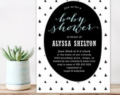 Modern Baby Shower Invitation - Geometric Triangles Trendy Black and White - Baby boy shower - unique shower invitation - Digital Printable