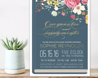 Book theme Baby Shower Invitation, Bring a book Baby Shower Invite,  Once Upon a time Shower Invitation, Printable baby shower invitation