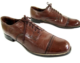 vintage 1990s STACY adams milk chocolate brown leather LACE up oxfords mens 11 1/2 D MADISON U S A victorian swing brogue gatsby cap toe