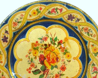 1900s Lg Tin litho Toy Tea Plate with braid & flowers.