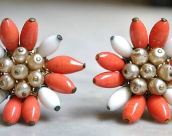 Castlecliff Orange & White Glass Bead Earrings
