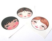 Fabric Doll faces, Doll Face Appliques, Sew in fabric doll faces, Matryoshka doll faces, Cloth doll faces