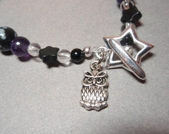 Owl Star - Amethyst Snowflake Obsidian Clear Quartz Crystal Gemstone Beaded Bracelet Toggle Clasp Owl Charm