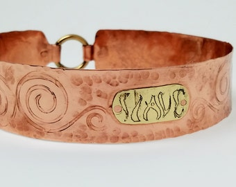 "Indiscreet Slave Collar Tarnish Resistant 13.25"" Copper & Etched Brass with Locking Gold Anodized Titanium Captive Segment ring Clasp"