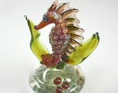 Glass Seahorse Lampwork Glass Sea Horse Figurine Paperweight Glass Sculpture-Sealife Collectable Figurine RC Art Glass