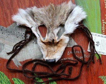 Coyote mask - real eco-friendly wild coyote fur mask headdress with braided yarn cords for ritual, dance, costume and more