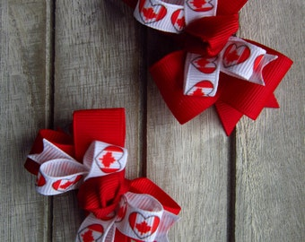Canada Day hair bows, girls hair bows, classic hair bows, Canada hairbows , hairbows, hair clips, barrettes, Canada Day accessories