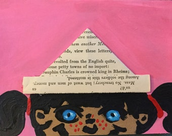 Paper Hat Girl Handmade Notecard