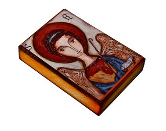 Saint Raphael - ACEO Giclee print mounted on Wood (2.5 x 3.5 inches) Folk Art  by FLOR LARIOS