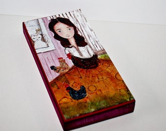 Happy Country Girl -  Giclee print mounted on Wood (3 x 6inches) Folk Art  by FLOR LARIOS
