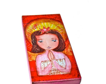 Praying Angel -  Giclee print mounted on Wood (3 x 6 inches) Folk Art  by FLOR LARIOS