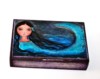 The Mermaid The Sea and I - ACEO Giclee print mounted on Wood (2.5 x 3.5 inches) Folk Art  by FLOR LARIOS