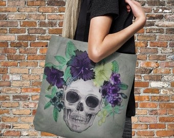 "Sugar Skull Tote Bag Over Sized 18"" x 18""  Tropical Touch"