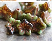 10% off TORTOISE BLOOMS .. 10 Premium Picasso Czech Glass Flower Beads (4731-10)