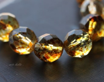 AMBER PLUMP ROUNDS .. 8 Picasso Czech Faceted Round Beads 12mm (4920-8)